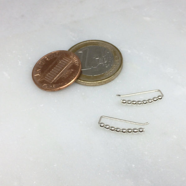 Tiny Silver Beaded Curved Ear Climbers
