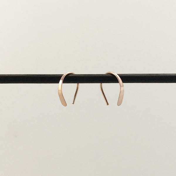 Tiny 14k Rose Gold Open Hoops