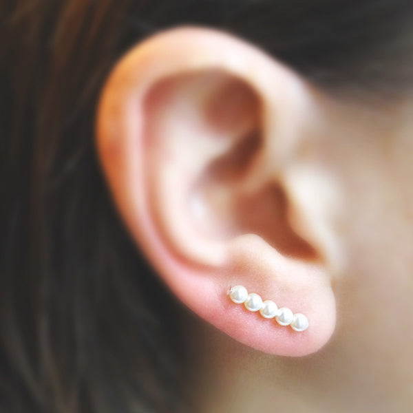 Swarovski Pearl Straight Ear Climbers in White