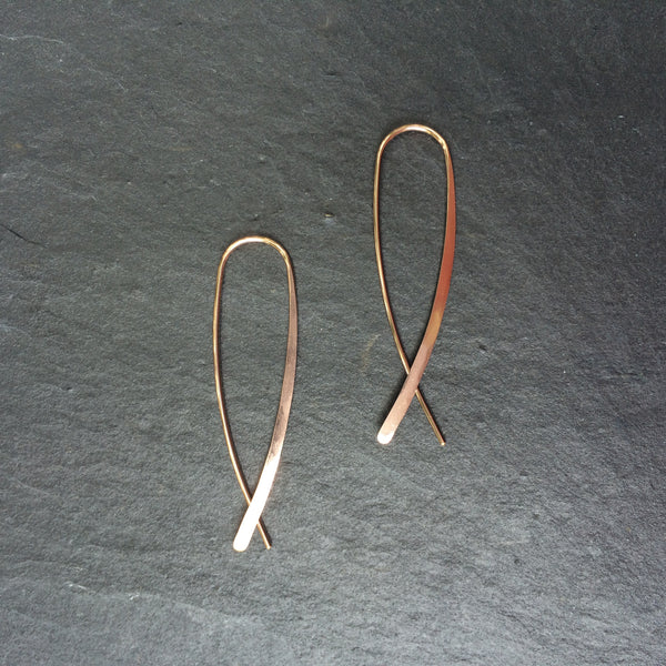 Rose Gold Crossover Open Hoops - Squirrel's Nest Jewelry - 1