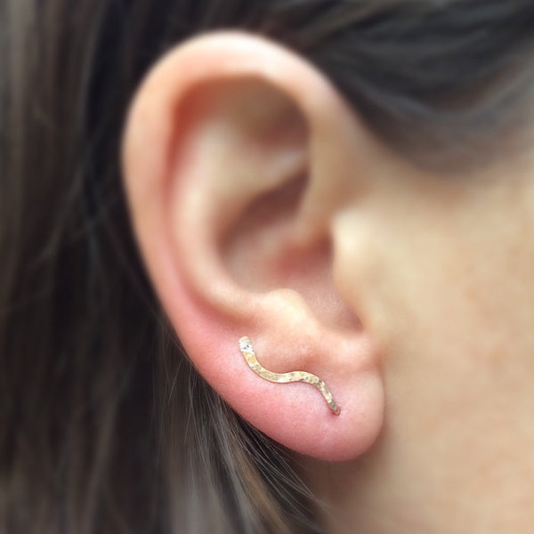 Rose Gold Hammered Squiggle Ear Climber - Squirrel's Nest Jewelry - 2