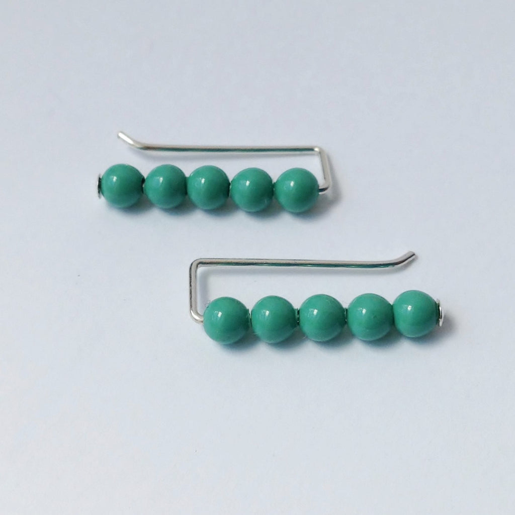 Swarovski Crystal Pearl Ear Pins in Jade - Squirrel's Nest Jewelry - 1