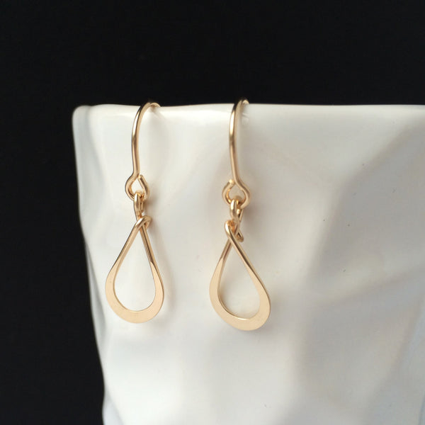 Tiny Gold Teardrop Earring - Squirrel's Nest Jewelry - 1