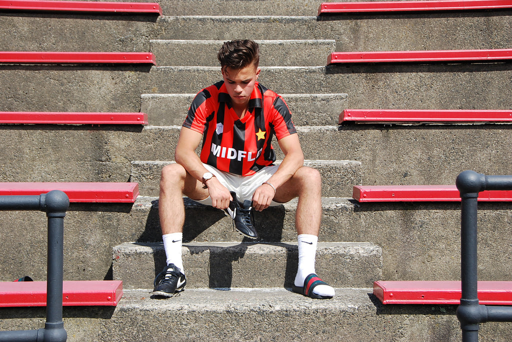 MIDFLD x Terrace Club AC Milan Inspired Jersey on Kicks to The Pitch