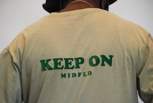 "MIDFLD ""Keep On"" Long Sleeve T-shirt - Khaki"
