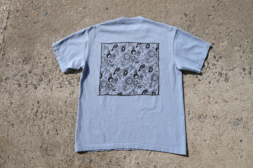 "MIDFLD x Geoff Gouveia ""Moments"" Garment Dye S/S T-Shirt - Clear Blue"