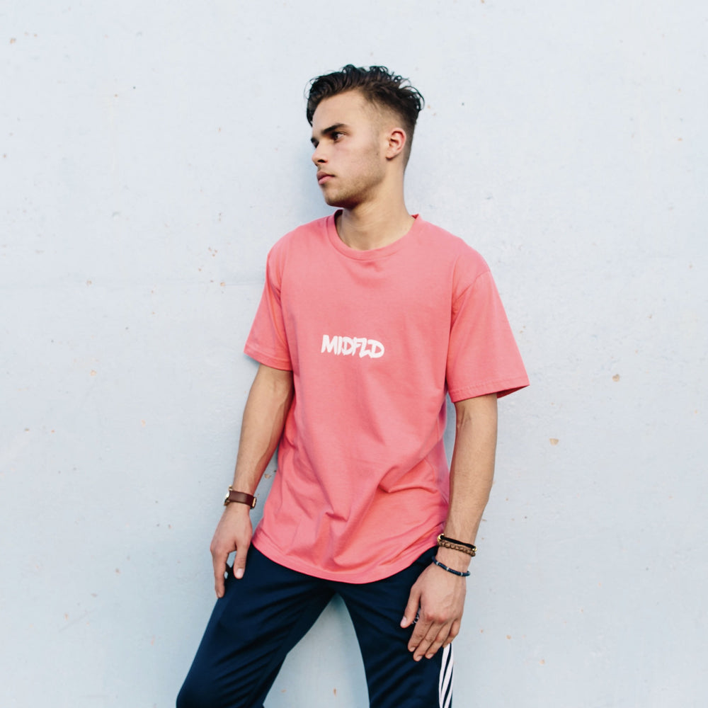 MIDFLD Brush Logo T-Shirt - Coral