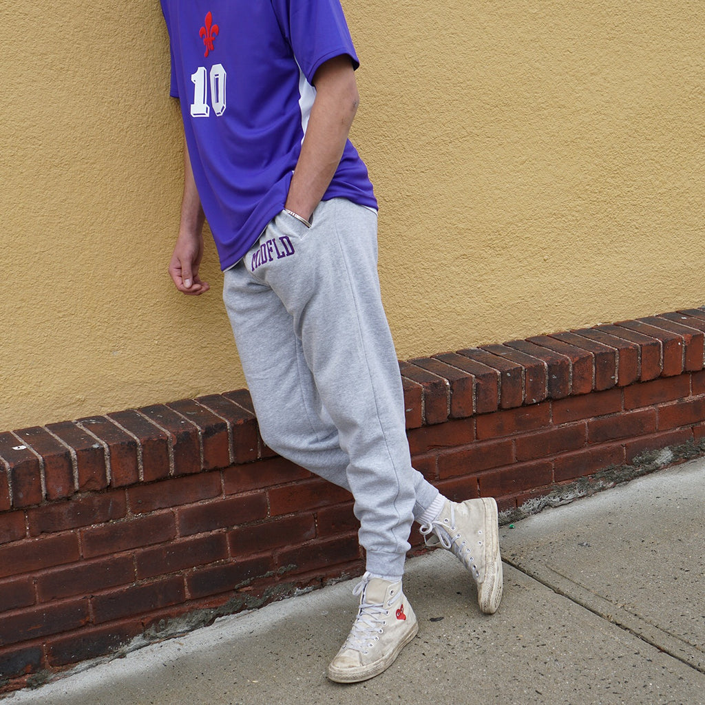 MIDFLD Viola Joggers - Heather Grey/Purple