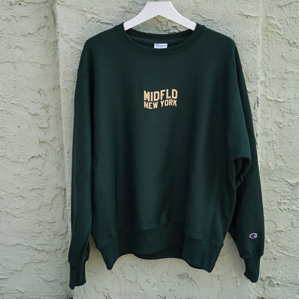 MIDFLD Champion™ Flag Logo Crewneck - Forest Green/Beige