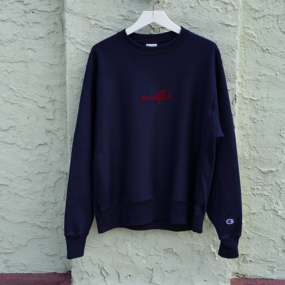 MIDFLD Champion™ Script Logo Crewneck - Navy/Red
