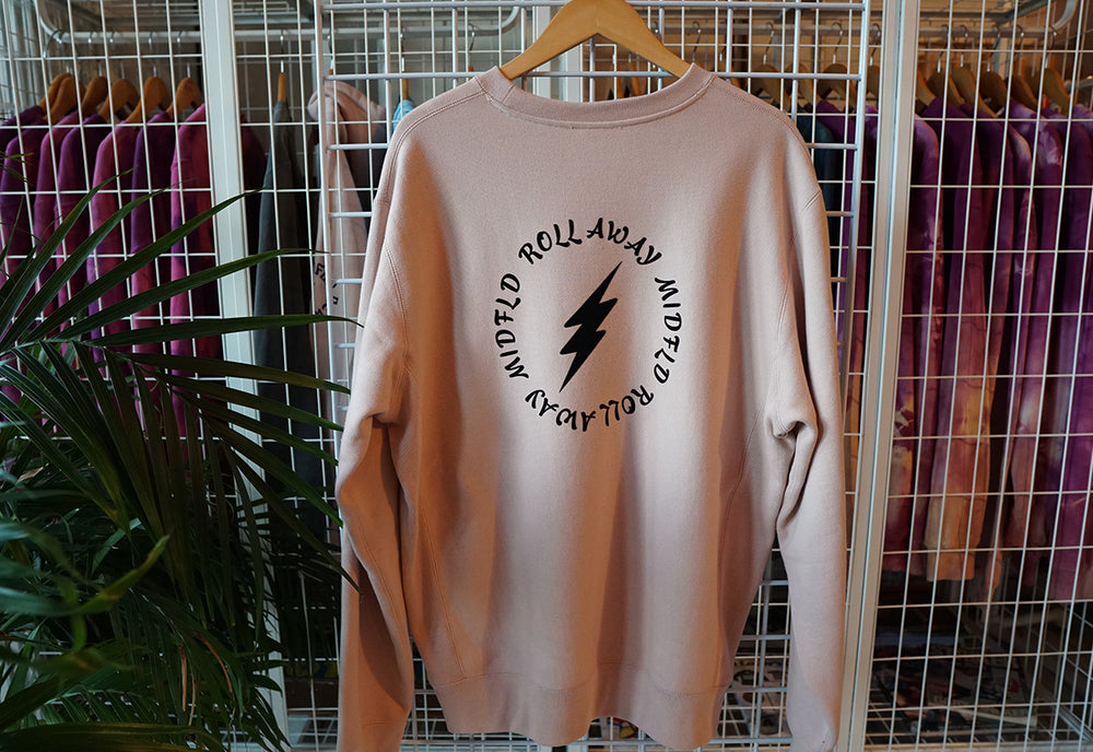 MIDFLD Roll Away Circle Heavyweight Crewneck - Dusty Pink/Black