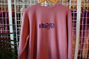 MIDFLD Roll Away Circle Crewneck - Vintage Maroon/Purple