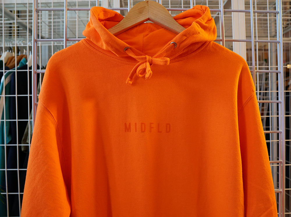 MIDFLD Small Space Logo Midweight Hoodie - Orange