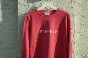MIDFLD Champion™ - Find the Spa©e Long Sleeve T-Shirt - Crimson