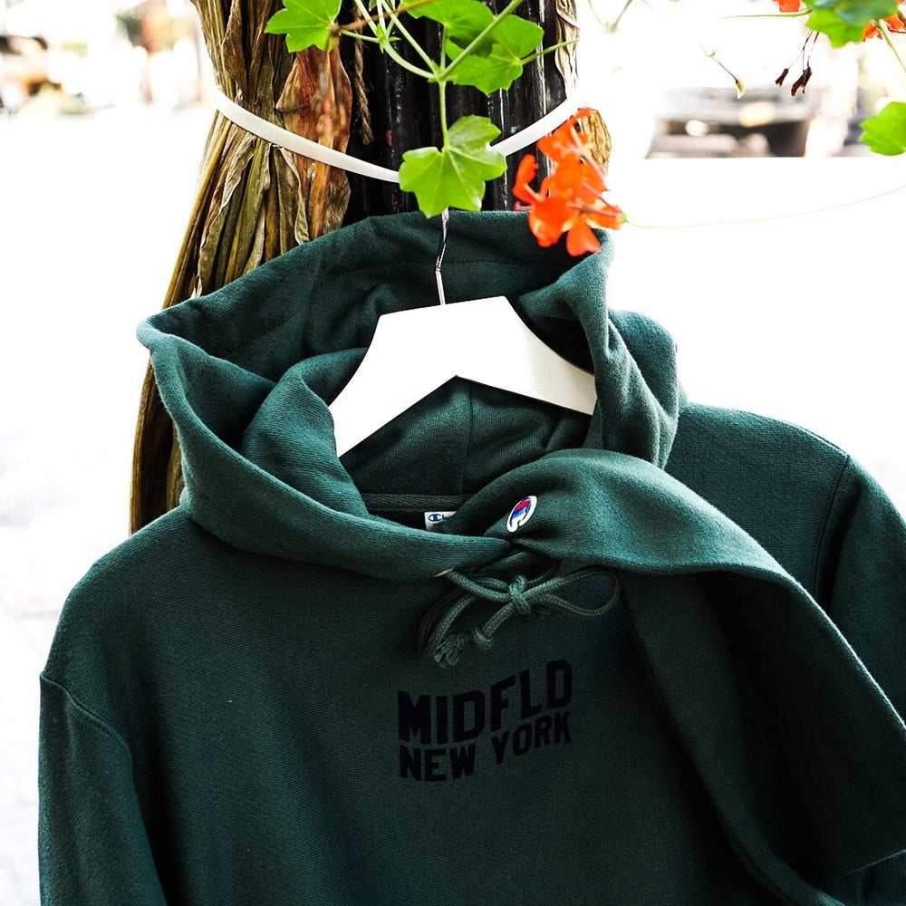 MIDFLD Champion™ Flag Logo Hoody - Forest Green/Navy