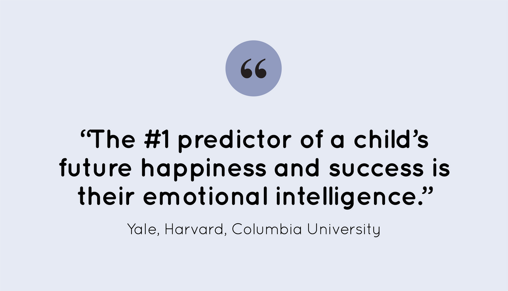 """#1 predictor of a child's future success and happiness is their emotional intelligence."""" -Yale, Harvard, Columbia University"""