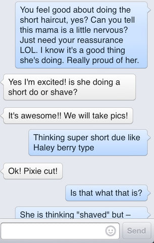 text message to hairdresser