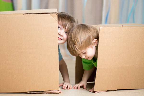 Two young boys using boxes for play-based learning