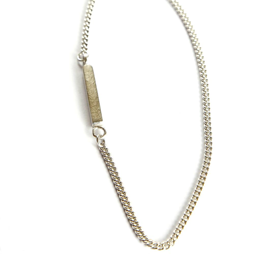 Long Silver Bar Necklace