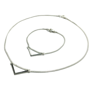Sterling silver necklace and bracelet set with a chevron bar pendant. Jewellery gifts.