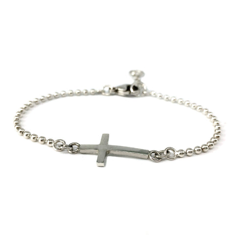 Sideways solid silver cross on a ball chain bracelet - Religious jewellery - modern christian jewellery