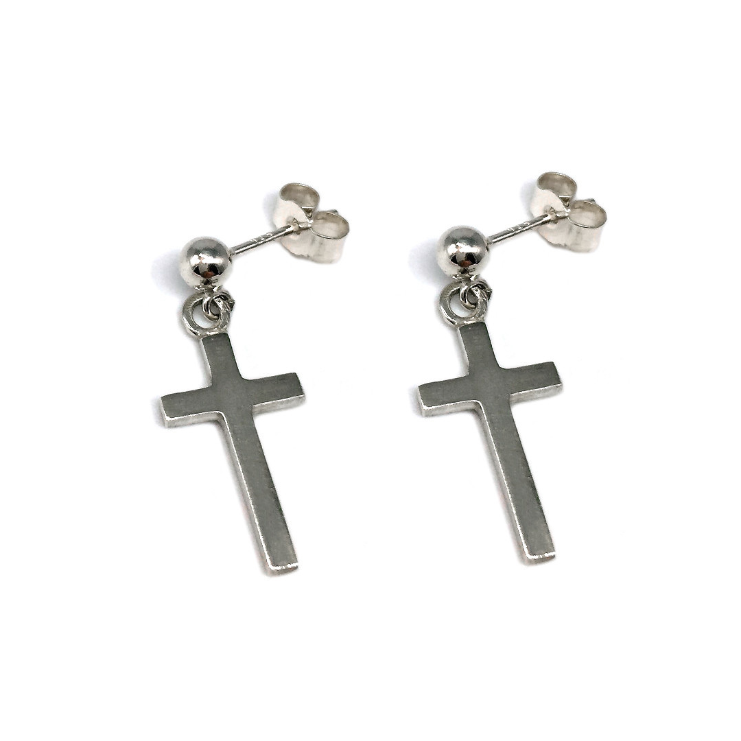 On-trend solid silver cross studs - religious jewellery - gifts for her