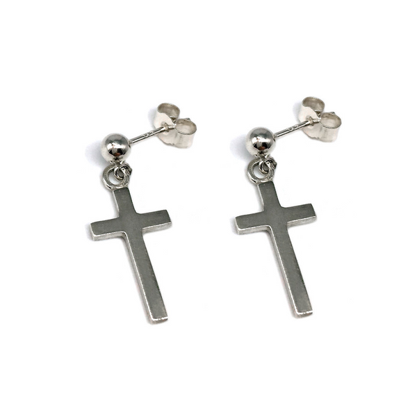 Solid silver crosses hanging from a ball stud earring