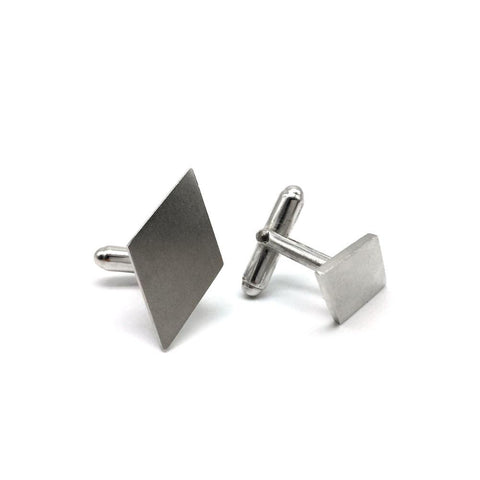 Sterling silver diamond shaped cufflinks from Brash Bijoux - Designer Jewellery