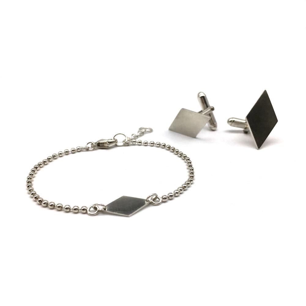 The Diamond Bracelet and Diamond cufflinks together as a set