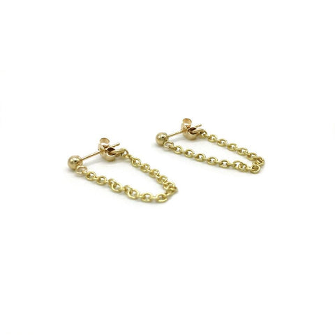 9ct Gold Chain Studs. the chain is attached to a small stud and the butterfly, they then form a nice loop