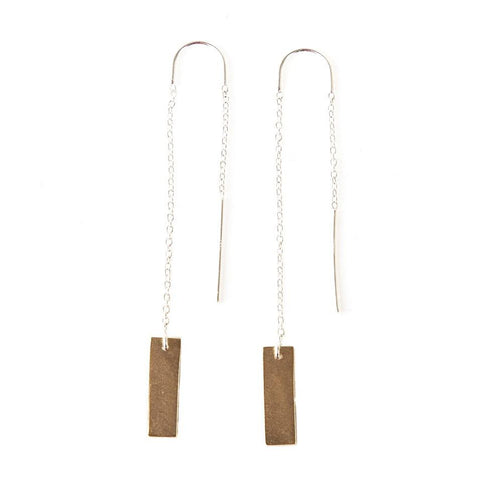 Gold Rectangle Dangle Earrings