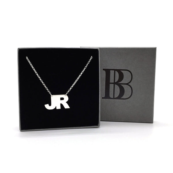 Double initial on silver chain. Name necklace. Personalised jewellery. Children's initial on jewellery