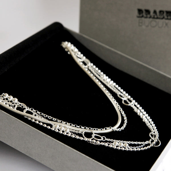 Sterling silver multi chain necklace in branded gift box