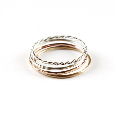 Gold , rose gold and silver stacking rings