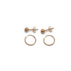 9ct Rose Gold 4mm ball stud and rose gold mini hoop set. Great Gift for your little ones or for you.