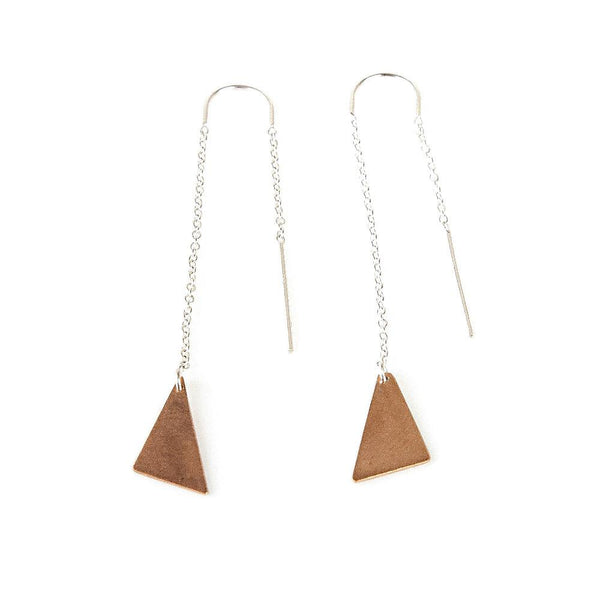 Rose Gold Triangle Dangle Earrings
