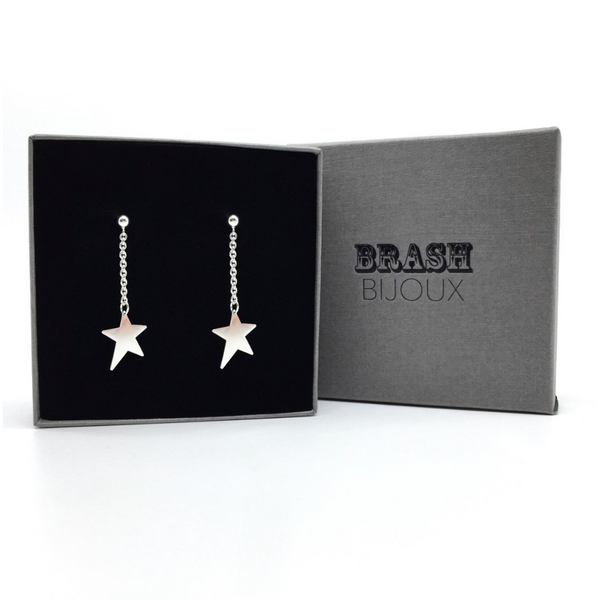The Star Dangle Studs from Brash Bijoux are a great gift for the girl with rock style