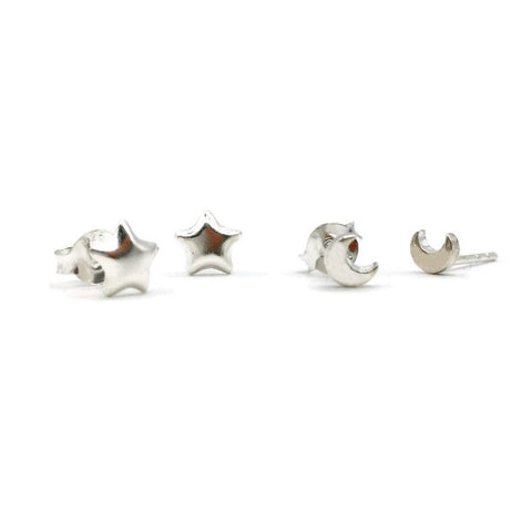 Sterling silver star and moon stud earring set. One pair each of the moon and stars. Great gift for children and adults!