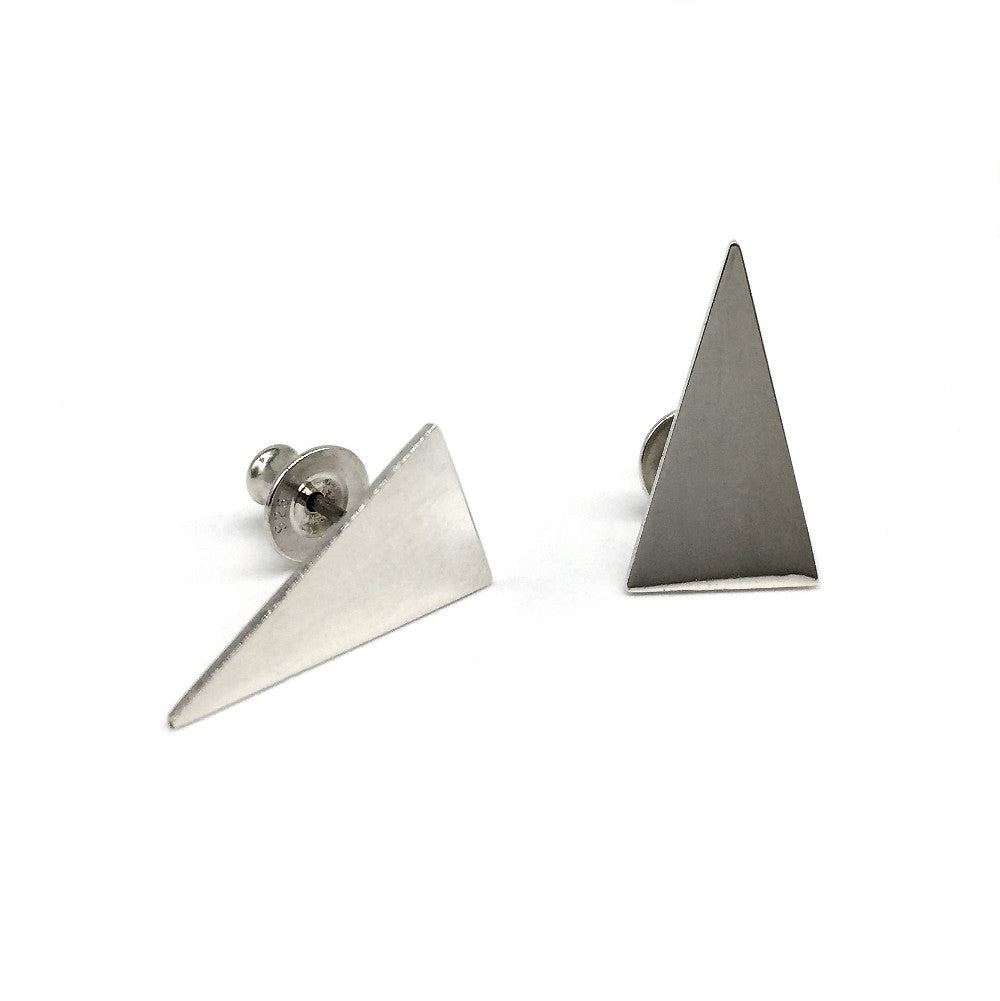 Silver stud earrings shaped as long triangles