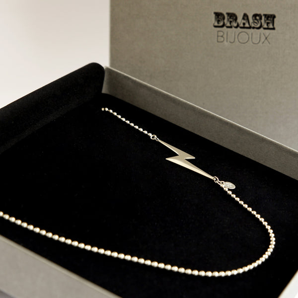 Extra long sterling silver lightning bolt necklace in branded gift box