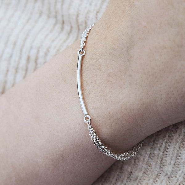 Sterling silver double chain bracelet, created using double chains attached to a 3cm solid bar, slightly curved to sit on the wrist perfectly.
