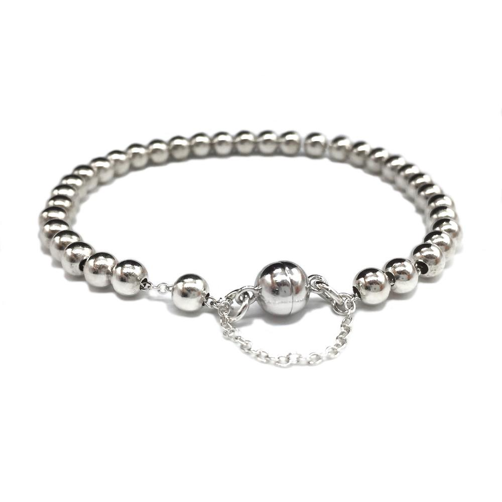 Silver Ball Bracelet With Magnetic Clasp