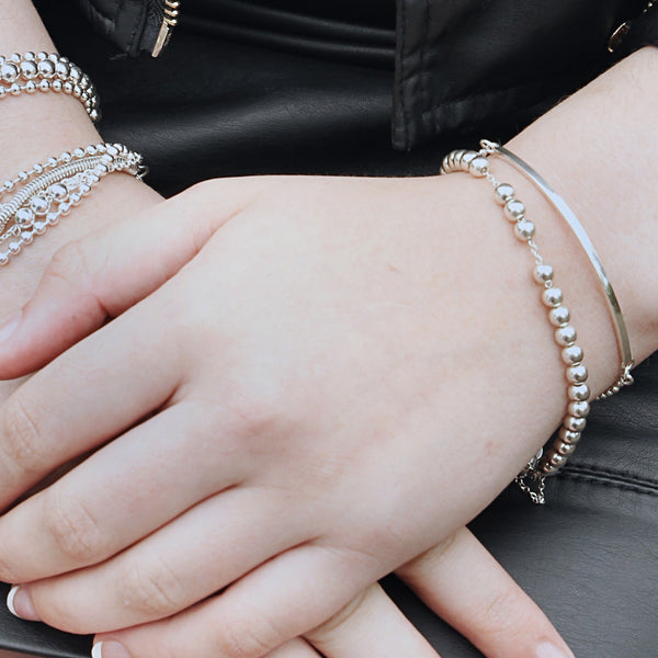 Sterling silver ball bracelet with magnetic clasp. Picture shown with bracelet on model