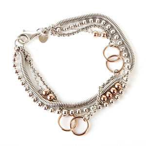 Rose Gold and Silver Multi Chain Bracelet