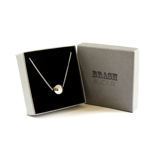 The silver ball necklace in gift box