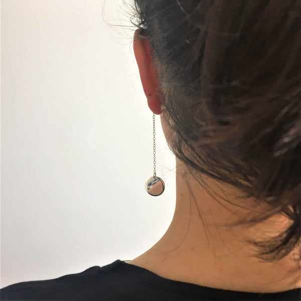 Single Silver Disc Dangle Earring and Stud