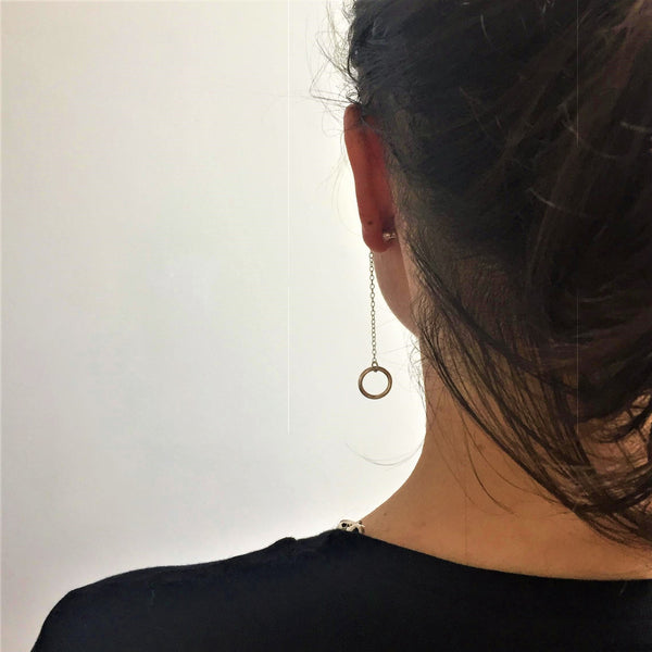 Single Silver Ring Dangle Earring and Stud
