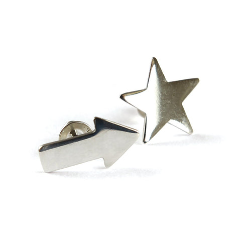 Create an edgy look with the Star and Arrow Studs from Brash Bijoux