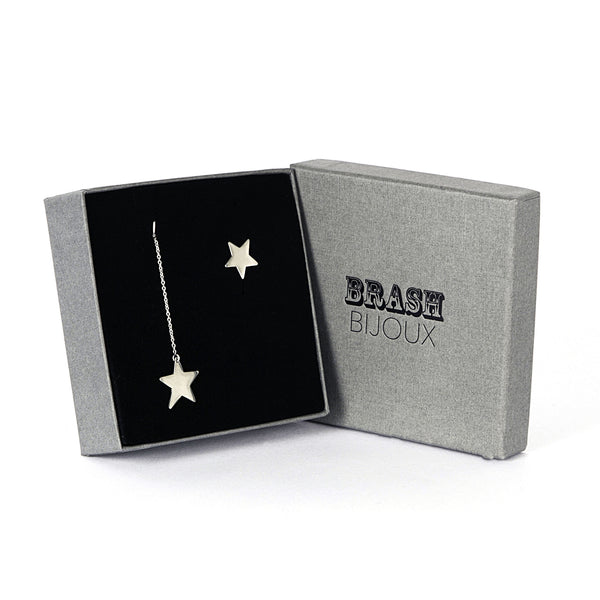 Star dangle and star stud in a branded gift box