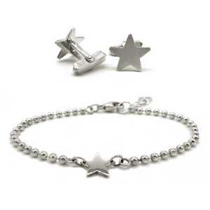 The Star Gift set comprises of the Star Cufflinks and Star Bracelet. perfect for that on=trend couple.